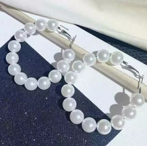 White Pearl and Silver Round Hoop Chic Earrings